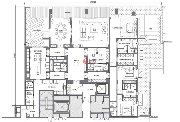 马来西亚Wilayah PersekutuanKuala Lumpur的房产,马来西亚吉隆坡3+1卧4卫+阳台高级公寓,编号51393654